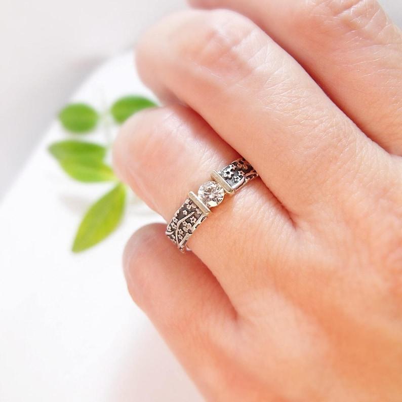 Moissanite Engagement Ring Womens Wedding Band Wedding Ring image 0