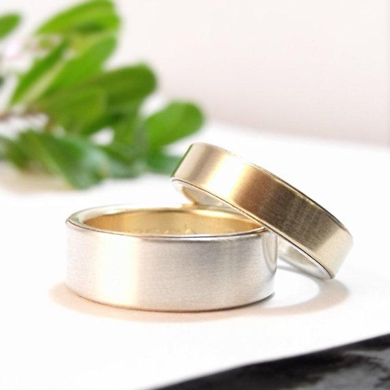 Womens Wedding Band Set Mens Wedding Ring Set Gold Wedding Etsy