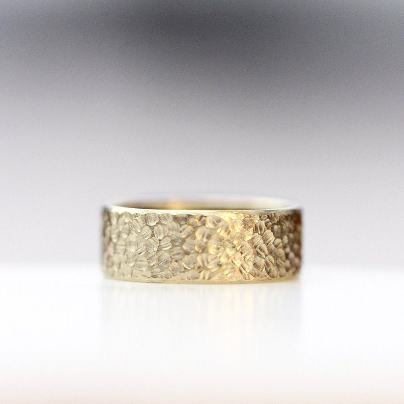 Textured Wedding Modern Mens Wedding Ring 14k Yellow Sculpted image 0