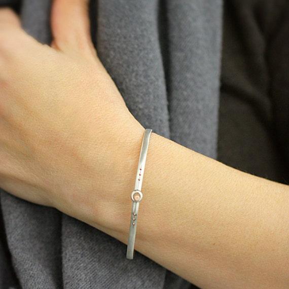 Sterling Silver Bangle, Silver Bracelet, Silver and Rose Gold Latch Bangle Latch Bracelet