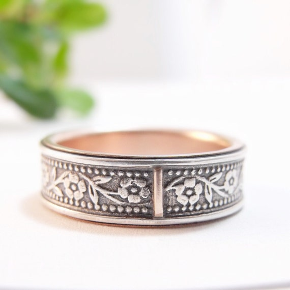 Rose Gold and Silver Wedding Band for Men and Women - Floral Petunia Wedding Ring