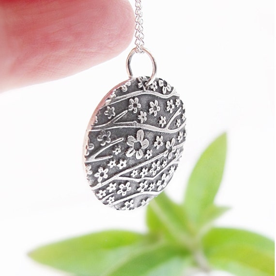 Sterling Silver Pendant Necklace Domed Pendant Disc Pendant, Round Pendant Floral Pendant Cherry Blossom Flower Pendant Bridesmaid Gift