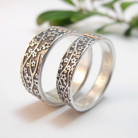 Sterling Silver Cherry Blossom Wedding Bands With 14k Gold Accent