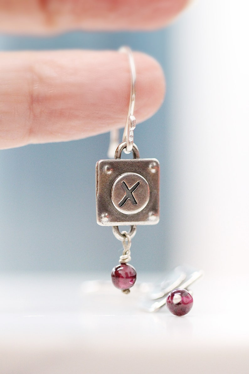 X's and O's Silver Earrings Sterling Silver Dangle image 0