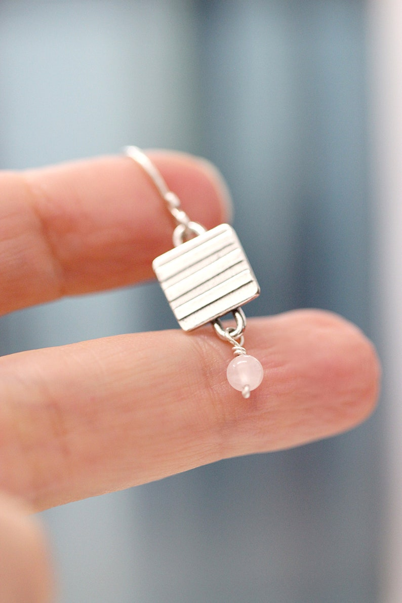 Striped Silver Earrings Sterling Silver Dangle Earrings Tiny image 0