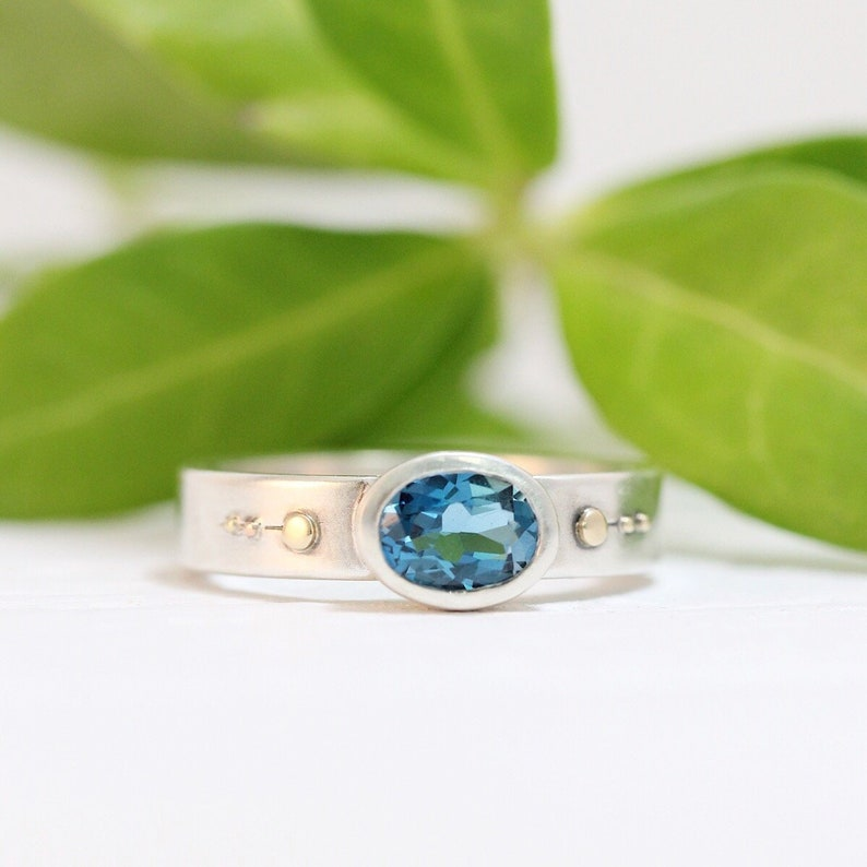 Engagement Ring Oval London Blue Topaz Engagement 14k Gold image 0