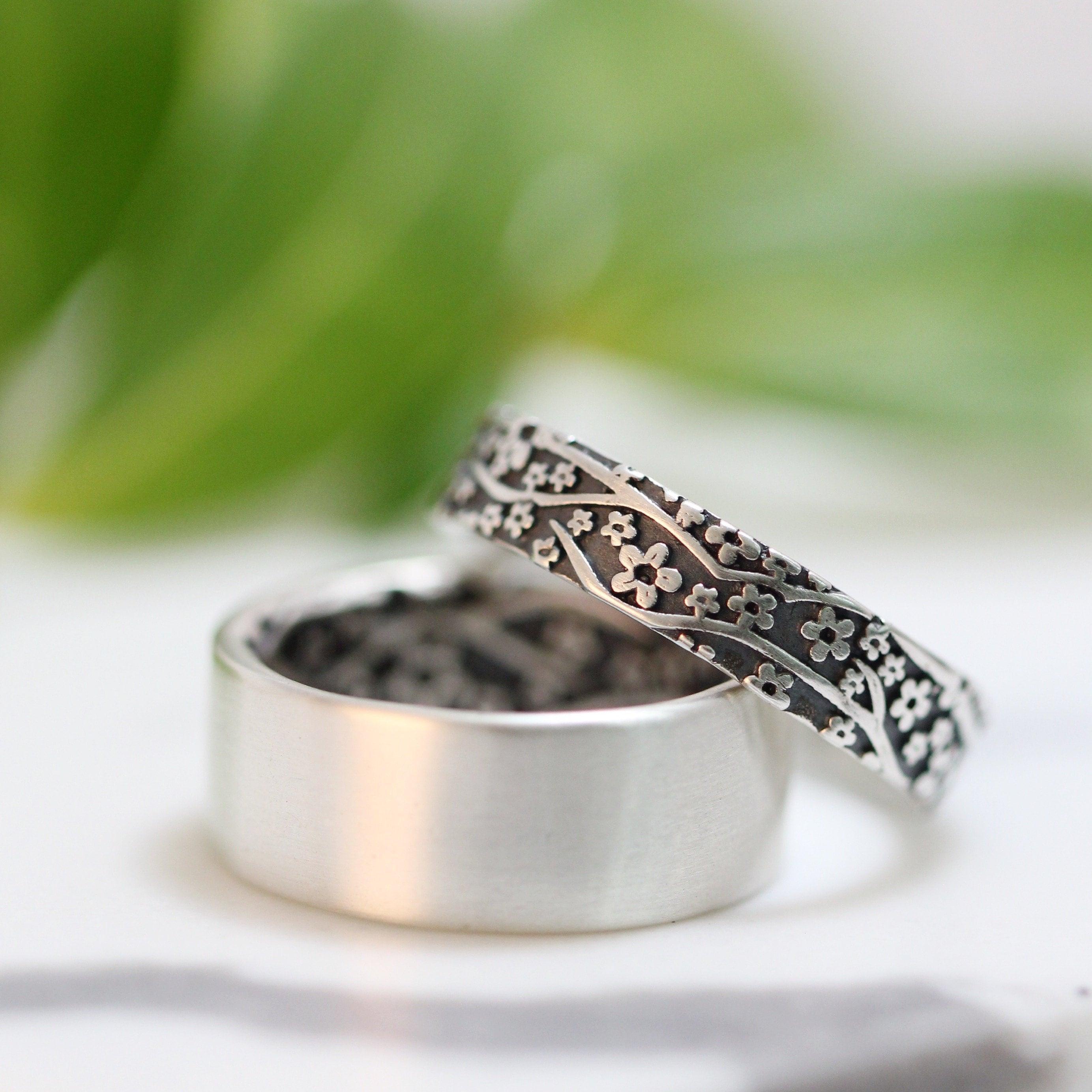 Womens Wedding Rings.Womens Wedding Ring Set Womens Wedding Band Set Cherry Blossom Silver Wedding Band Sterling Silver Mens Wedding Band Womens Wedding Ring