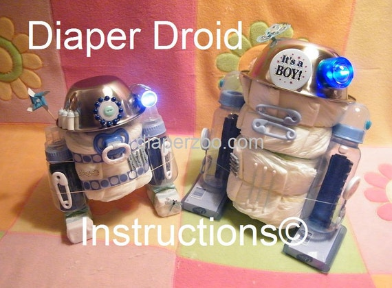 Instructions Diaper Droids R2d2 Star Wars Inspired Baby Etsy