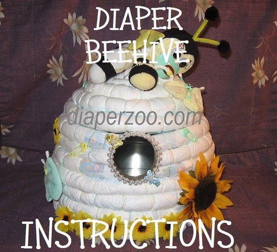 Instructions How To Make A Beehive From Diapers Great Gender Etsy