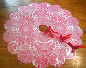 Red Lace OILCLOTH Tree skirt by Modern June