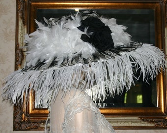 Kentucky Derby Hat, Ascot Hat, Edwardian Hat, Fashion Hat, Del Mar Hat, Womens Hat, Wide Brim Hat, Black & White Hat Feather Hat - Donatella