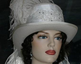 Kentucky Derby Hat, Ascot Hat, Edwardian Hat, Victorian Hat, Riding Hat, SASS Hats, Victorian Top Hat, White Hat, Wedding Hat - Lady Lisa