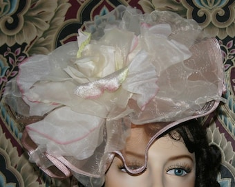 "Kentucky Derby Handmade Fascinator Hat Pink Green Ivory Hat Extra Large Organza Rose 12"" Melbourne Cup Ascot - Madame Rosalie"