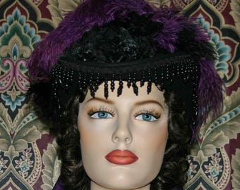 Fashion Hat, Victorian Hat, Riding Hat, Sidesaddle Hat, SASS, Black & Purple Hat, Western Hat, Cocktail Hat, Kentucky Derby Hat - Denver