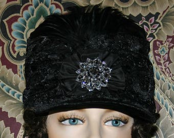 SALE Regency Hat, 1812 Shako Hat, Women's Hat - Fashion Hat, Small & Elegant Hat Black - Size 6 3/4 One of a Kind - First Lady Eliza SALE