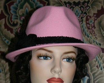 Flapper Hat Fedora 1930's Small Brim Downton Abbey Tea Hat Women's Fedora Hat Pink Fedora - Isadora Fedora