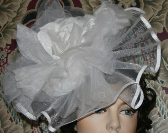 KENTUCKY DERBY Handmade Fascinator Hat Extra Large Rose Del Mar Royal Ascot Wedding Hat Race Day - Madame Rosalie