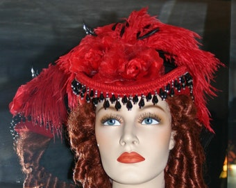 Victorian Hat, Riding Hat, Kentucky Derby Hat, SASS Hat, Red Hat, Western Hat, Cocktail Hat, Red Black Hat - Moulin Rouge