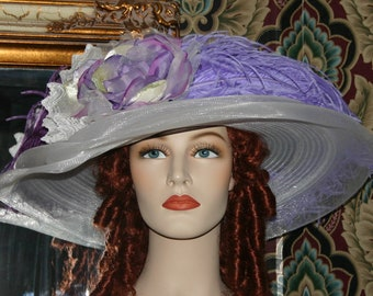 Kentucky Derby Hat, Ascot Hat, Del Mar Hat, Edwardian Hat, Titanic Hat, Downton Abbey Hat, Wide Brim Hat, Lavender & Lace - Lady Ophelia
