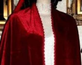 Kentucky Derby RED SILK VELVET Shawl Hand made Shawl with Crochet Trim & Fringe