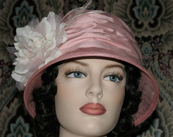 Fashion Hat, Kentucky Derby Hat, Del Mar, Wedding Hat, Flapper Hat, Edwardian Hat, Gatsby Hat, Garden Party Hat, Tea Party Hat- Dusty Rose