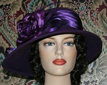 """Edwardian Hat Kentucky Derby Hat Titanic Hat Kentucky Derby Hat Downton Abbey Hat """"Madame Poirot"""" Purple Ascot Hat"""