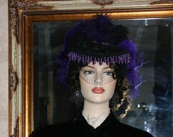 Victorian Hat, Steampunk Hat, Wedding Hat, Black & Purple Hat, Cocktail Hat, Kentucky Derby Hat - Lady Lovely