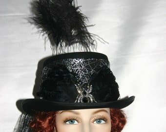 "SALE Steampunk Hat, Black Top Hat, Victorian Hat, Web Veil, Hat Band, Turantula Spider, Silver & Black Hat, Tea Party Hat ""Mrs. Web"" SALE"