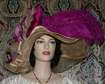 Kentucky Derby Hat, Ascot Hat, Edwardian Tea Party Hat, Downton Abbey Hat, Royal Wedding Hat, Del Mar Hat - Fuchsia Sunset