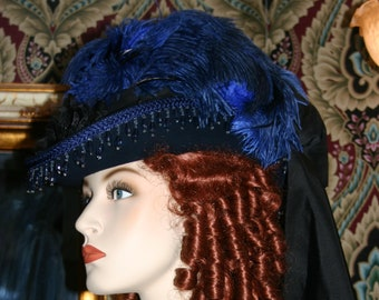 Victorian Fashion Hat, SASS Hat, Royal Blue Kentucky Derby Hat, Riding Hat, Sidesaddle Hat, Tea Party Hat, Women's Cocktail Hat Vienna