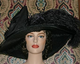 Kentucky Derby Hat, Ascot Hat, Edwardian Hat, Titanic Hat, Wide Brim Hat, Del Mar Hat, Black Hat - Lady Adella