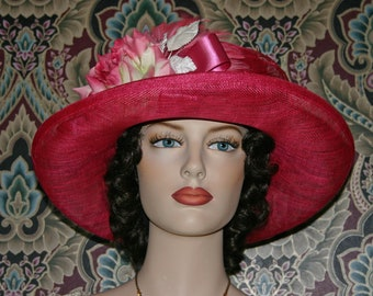 Church Hat, Edwardian Hat, Pink Tea Hat, Downton Abbey Tea Hat, Easter Hat, NEW design by Darna - Mademoiselle Giselle - One of a Kind