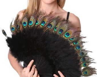 Antique Peacock Feather & Black - White or Royal Blue Marabou Peacodk Feather fan