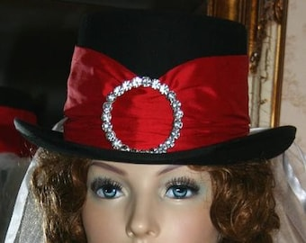Victorian Hat, Ascot Hat, Edwardian Hat, Riding Hat, Side Saddle Hat, Victorian Top Hat, SASS Hat, Black & Red - Mademoiselle