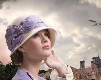 Flapper Hat, Edwardian Tea Hat, Kentucky Derby Hat, Gatsby Hat, Downton Abbey Hat, Ivory & Lavender Hat, Couture Hat - Josephine
