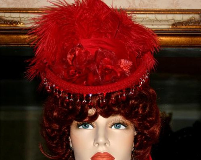 Featured listing image: Victorian Hat, Red Hat, Sidesaddle Hat, Tea Party Hat, SASS Hat, Riding Hat, Cocktail Hat Kentucky Derby - Phoenix 2