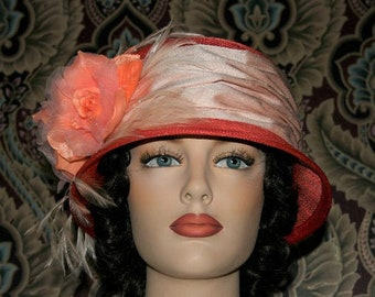 Fashion Hat, Kentucky Derby Hat, Del Mar, Wedding Hat, Flapper Hat, Edwardian Hat, Gatsby Hat, Garden Party Hat, Tea Party Hat- Coral Reef