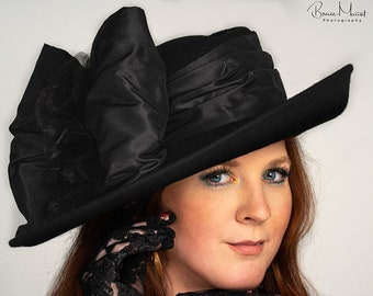 Fashion Hat, Edwardian Tea Hat, Suffragette Hat, Kentucky Derby Hat, Titanic Hat, Women's Black Hat Ascot Hat, Suffragette Hat - Lady Olivia