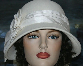 Kentucky Derby Hat Flapper Hat Edwardian Tea Hat Wedding Hat Church Downton Abbey Hat Women's Ivory Cloche Hat Gatsby Hat - Lady Ruth