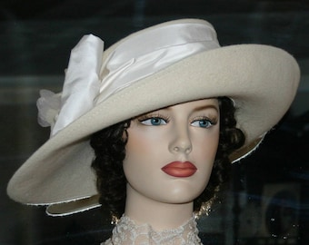 Kentucky Derby Hat Ascot Edwardian Tea Hat Titanic Hat Somewhere in Time Hat Downton Abbey Hat Women's Ivory Hat - Lady Olivia