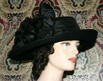 Edwardian Tea Hat, Suffragette Hat, Kentucky Derby Hat, Titanic Hat, Women's Black Hat - Lady Olivia