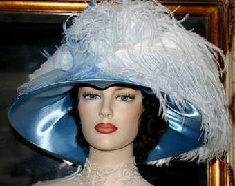 Edwardian Hat, Church Hat, Downton Abbey Hat, Kentucky Derby Hat, Ascot Hat, Titanic Hat, Somewhere Time Hat - Mademoiselle Renoir