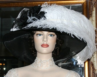 Kentucky Derby Hat, Ascot Hat, Edwardian Hat, Titanic Hat, Tea Party Hat, Downton Abbey Hat, Royal Wedding Hat - Run for the Roses