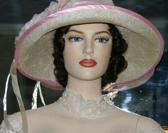 Kentucky Derby Hat Ascot Edwardian Flapper Hat Downton Abbey Tea Hat Gatsby Hat Church Hat Edwardian Hat Women' Pink Hat - Miss Emily