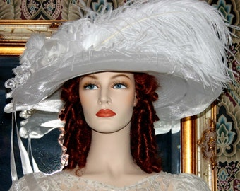 Kentucky Derby Hat Ascot Edwardian Hat Titanic Hat Somewhere Time Hat Downton Abbey Hat Edwardian Women's White Hat Church - Lady Ophelia