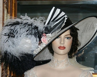 Fashion Hat, Kentucky Derby Hat, Edwardian Hat, Ascot Hat, Del Mar, Titanic Hat, Women's Black & White Hat, Wide Brim Hat Womens - Fair Lady