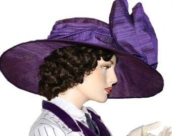 Kentucky Derby Hat, Ascot Hat, Del Mar Hat, Edwardian Hat, Titanic Hat, Downton Abbey Hat, Purple Hat, Wide Brim Hat,  - Titanic Rose