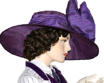 Purple Kentucky Derby Hat, Ascot Hat, Del Mar Hat, Edwardian Hat, Titanic Hat, Downton Abbey Hat - Titanic Rose