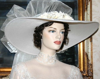 "Kentucky Derby Hat, Ascot Hat, Victorian Hat, Southern Belle Hat, Wedding Hat, Church Hat, 22"" Wide Brim Hat - Royal Wedding"