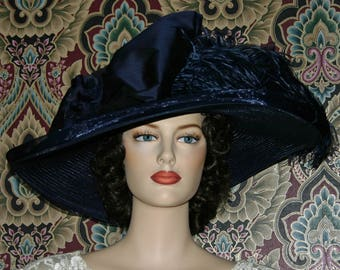 Edwardian Hat, Kentucky Derby Hat, Ascot Hat, Tea Party Hat, Titanic Hat, Wide Brim Hat - Lady Adella